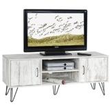 TV Lowboard TV Rack Hifi Möbel Fernsehtisch EVA 2 Türen 2 Ablagen, Spanplatte 3D Strukturfolie Shabby Chic -