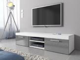 TV Möbel Lowboard Schrank Ständer Mambo weiß matt/grau hochglanz 160 cm -