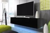 TV Schrank Lowboard Hängeboard SIMPLE mit LED Blau (Schwarz Matt / Schwarz Hochglanz 160 cm) -