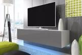 TV Schrank Lowboard Hängeboard SIMPLE mit LED Blau (Weiß Matt / Grau Hochglanz 140 cm) -