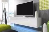 TV Schrank Lowboard Hängeboard SIMPLE mit LED Blau (Weiß Matt / Weiß Hochglanz 160 cm) -