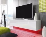 TV Schrank Lowboard Hängeboard SIMPLE mit LED Blau (Weiß Matt / Weiß Hochglanz 200 cm) -