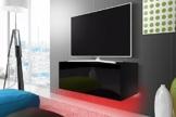 TV Schrank Lowboard Hängeboard SIMPLE mit LED Rot (schwarz matt / schwarz hochglanz 100 cm) -