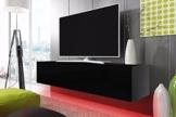 TV Schrank Lowboard Hängeboard SIMPLE mit LED Rot (schwarz matt / schwarz hochglanz 200 cm) -