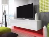 TV Schrank Lowboard Hängeboard SIMPLE mit LED Rot (weiß matt / weiß hochglanz 140 cm) -