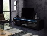 TV Schrank Lowboard Sideboard CONOY mit LED (Schwarz Matt / Schwarz Hochglanz) -