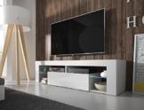 TV Schrank Lowboard Sideboard Tisch Möbel Board HURON (Weiß Matt / Weiß Hochglanz mit LED) -