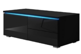 TV Schrank Lowboard Sideboard Tisch Möbel Board Luv Single mit LED (Schwarz Matt / Schwarz Hochglanz) -