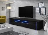 TV Schrank Lowboard Sideboard Tisch Möbel Board OXY Double (Schwarz Matt / Schwarz Hochgalnz) -