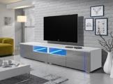 TV Schrank Lowboard Sideboard Tisch Möbel Board OXY Double (Weiß Matt / Grau Hochglanz) -