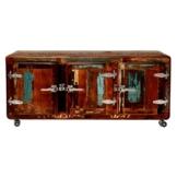 TV-Schrank Lowboard TV-Board Moos mit Rollen, Vintage Bunt, Holz Recyclingholz Massivholz, Breite 126 cm, Tiefe 47 cm, Höhe 57 cm -