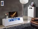 TV-Schrank Lowboard Weiß Wohnzimmer Schlafzimmer LED Hochglanz Elegant Modern -